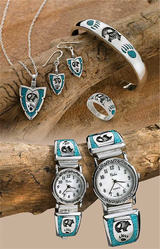 Silver and Turquoise Bear Paw Jewelry Collection