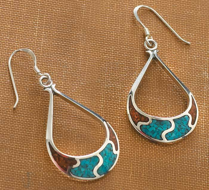 Silver and Turquoise Teardrop