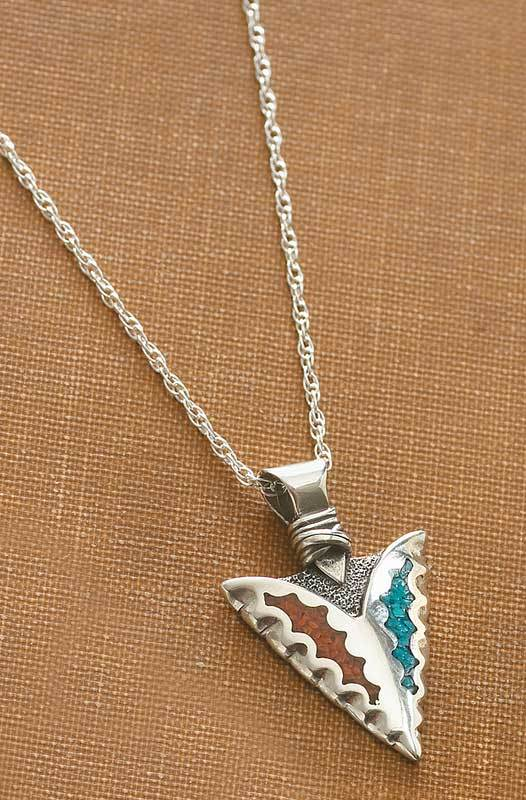 Silver & Turquoise Arrowhead Necklace