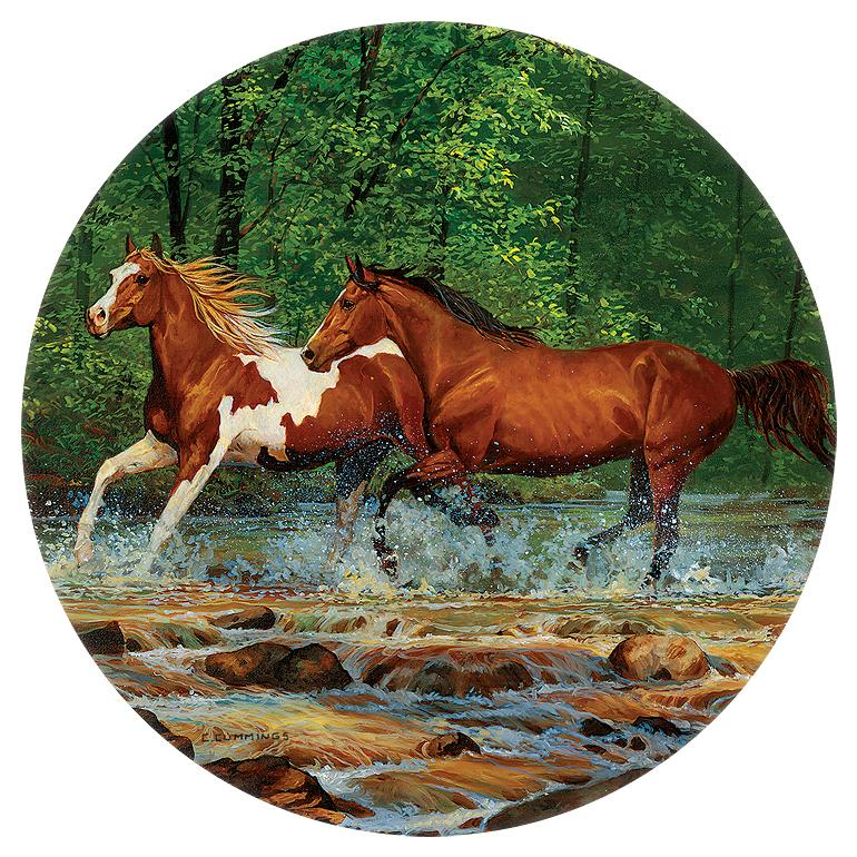 Spring Creek Run—horses Coasters
