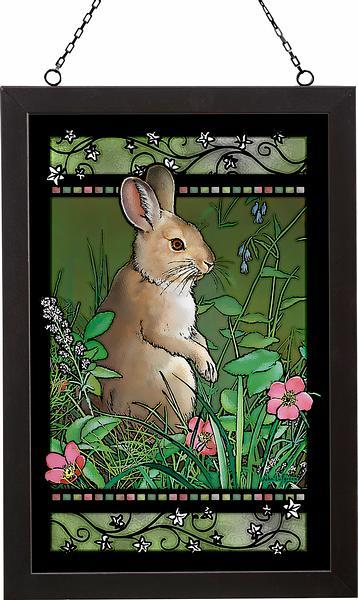 Springtime Snowshoe—rabbit Stained Glass Art