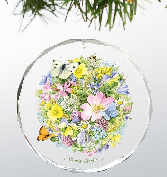 Springtime Posy Round Glass Ornament