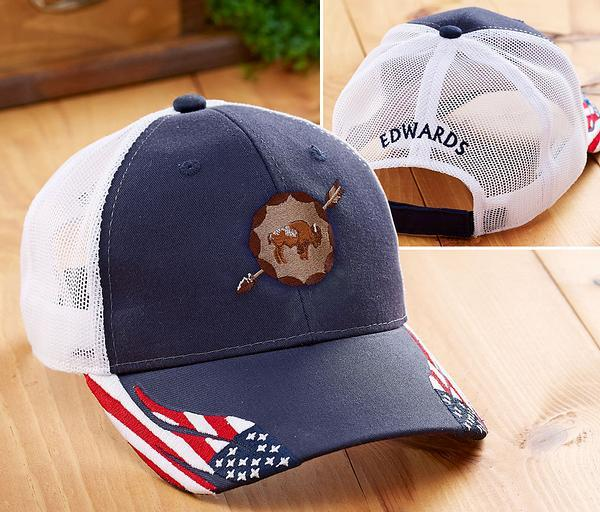 Stars And Stripes Bison Personalized Cap