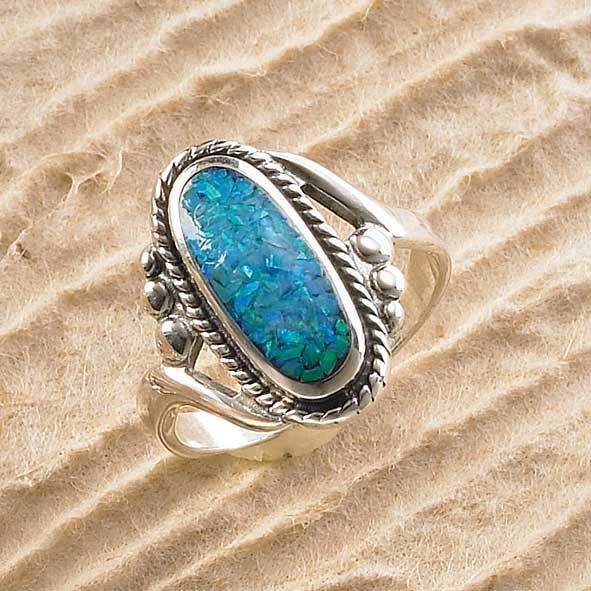 Sterling Silver And Blue Opal Ring