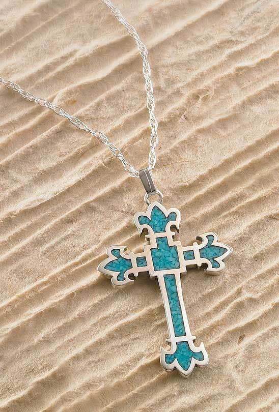 Silver & Turquoise Cross Necklace
