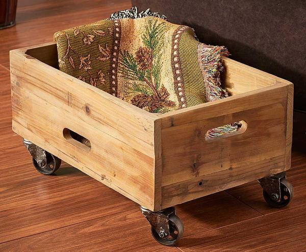 Wooden Rolling Crate