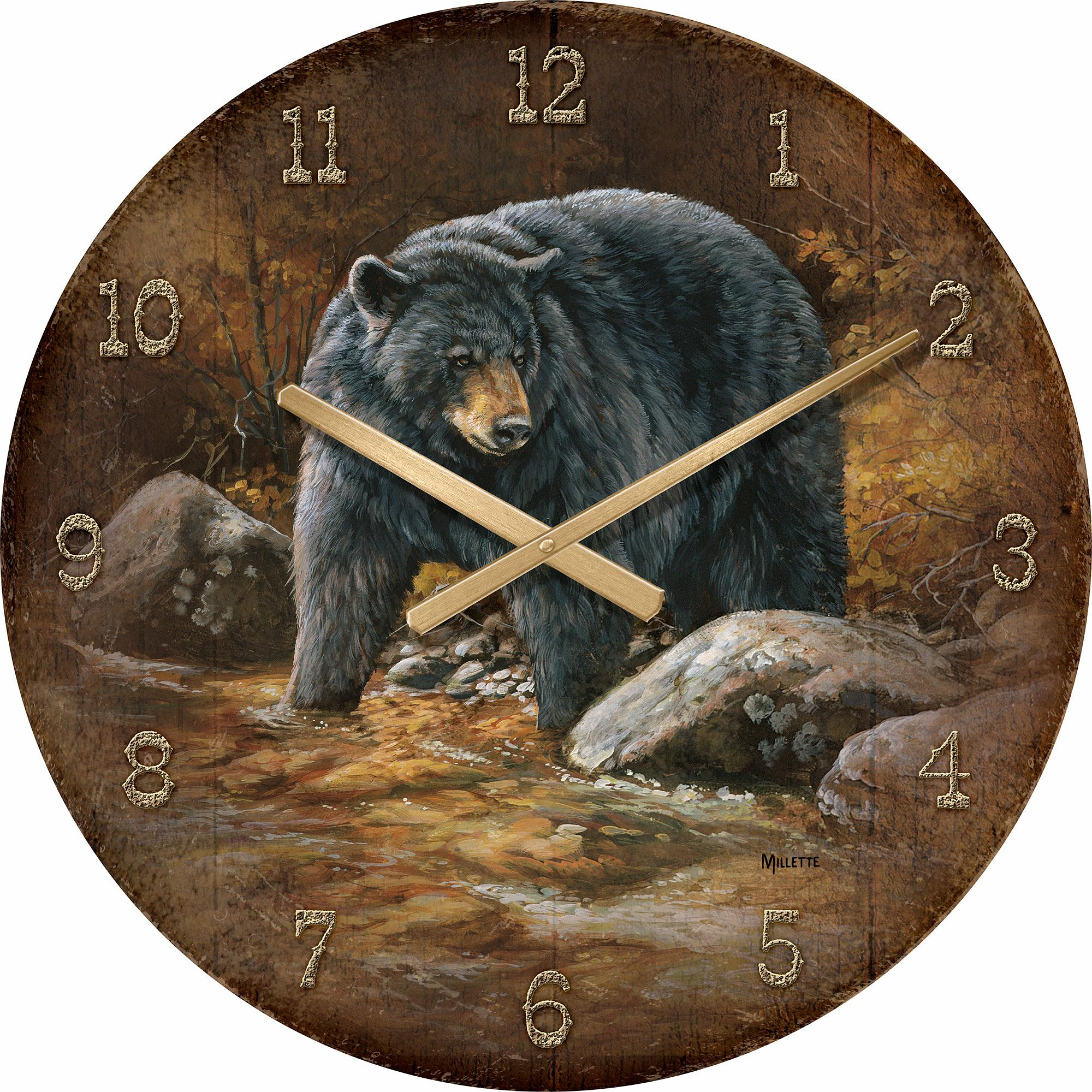 "Streamside-Bear 21"" Round Clock"