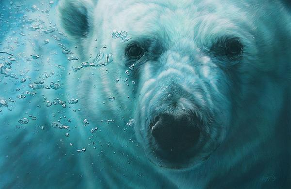 a close up of a polar bear in the water