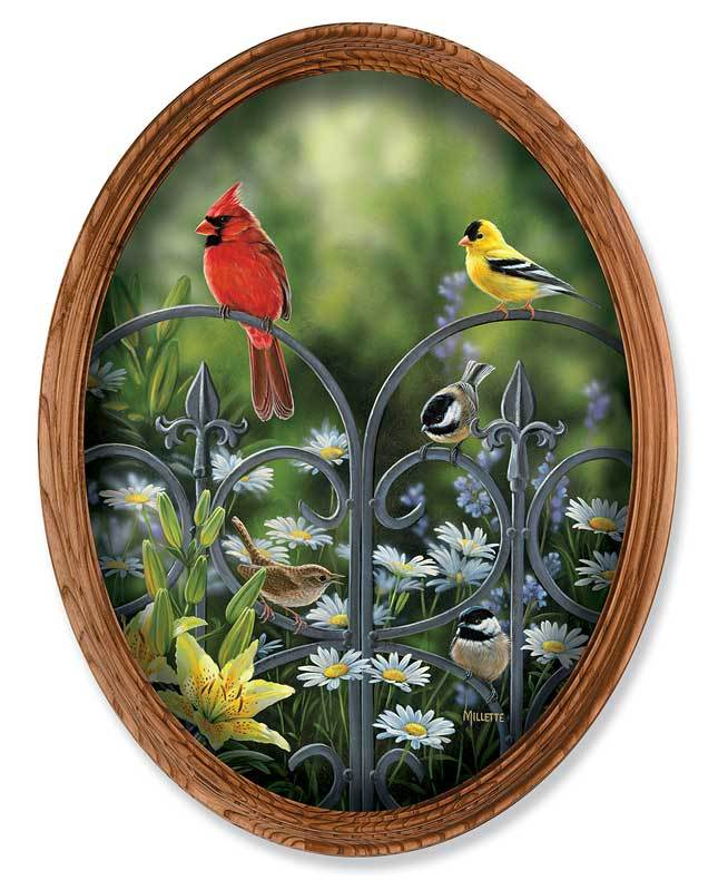 <I>Summer Companions&mdash;birds Oval</i> Framed Canvas Oval
