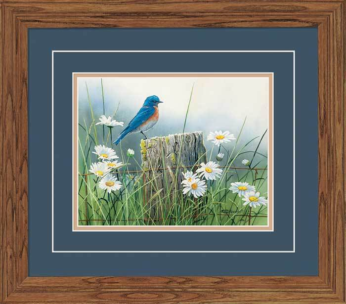 <I>Summer Meadow&mdash;bluebird</i> Gna Deluxe Framed Print