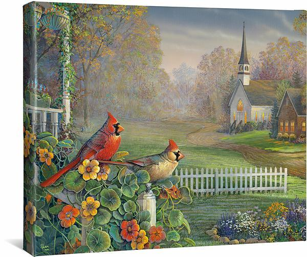 <I>Summertime Memories&mdash;cardinals</i> Gallery Wrapped Canvas