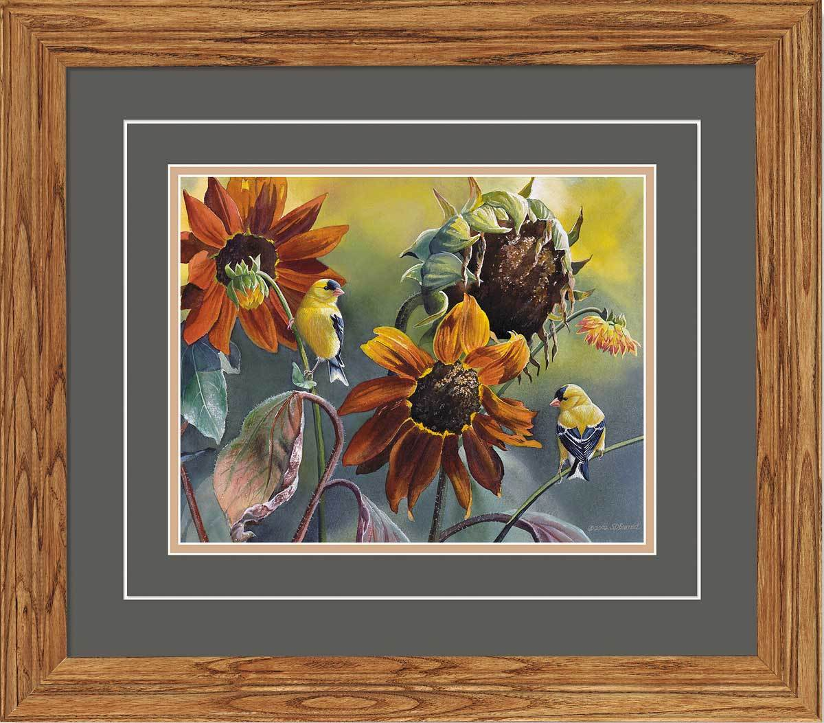 <I>Sun Seekers&mdash;goldfinches</i> Gna Deluxe Framed Print