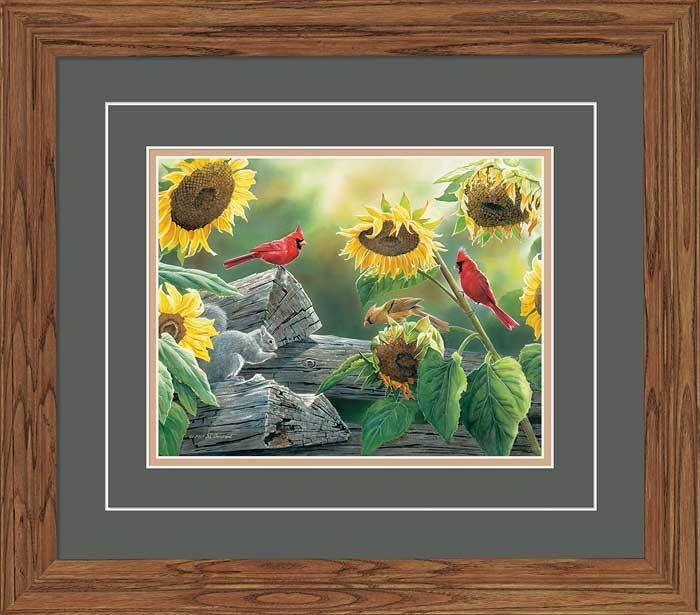 <I>Sunflower Buffet&mdash;cardinals</i> Gna Deluxe Framed Print