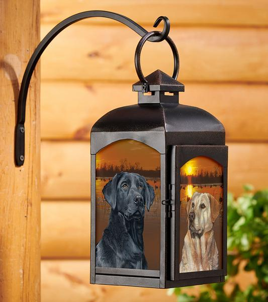 Sunset Dogs—retrievers Candle Lantern (Black)