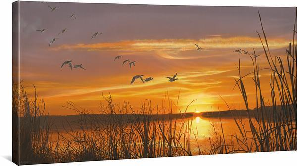 <I>Sunset Silhouette&mdash;mallards</i> Gallery Wrapped Canvas