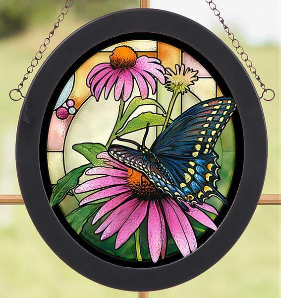 <I>Black Swallowtail&mdash;butterfly</i> Stained Glass Art