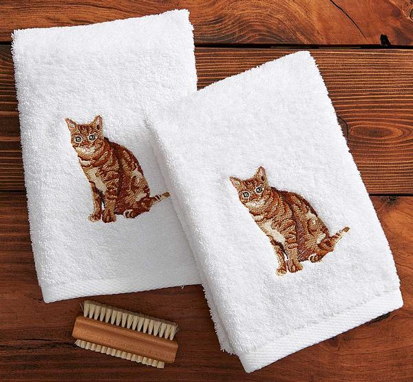Tabby Cat Hand Towels