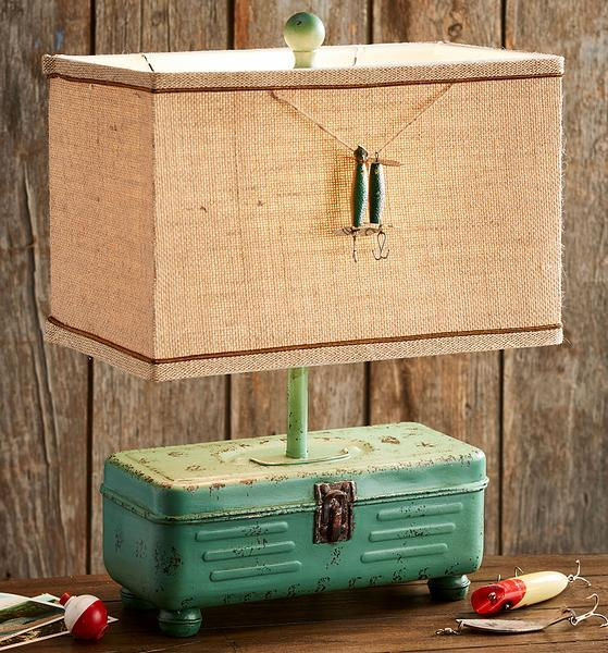 Vintage Tackle Box Table Lamp