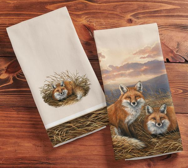 Rustic Retreat—foxes Tea Towels