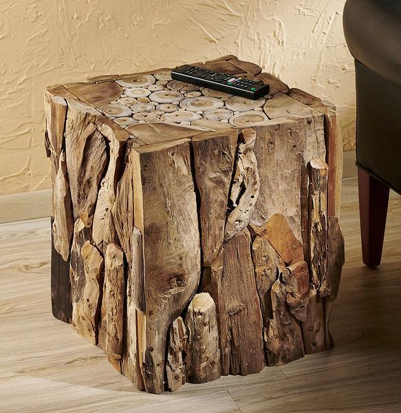 Artful Wood Cube Side Table