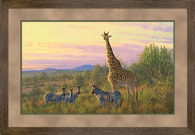 The Watch Tower-Giraffe & Zebras Art Collection