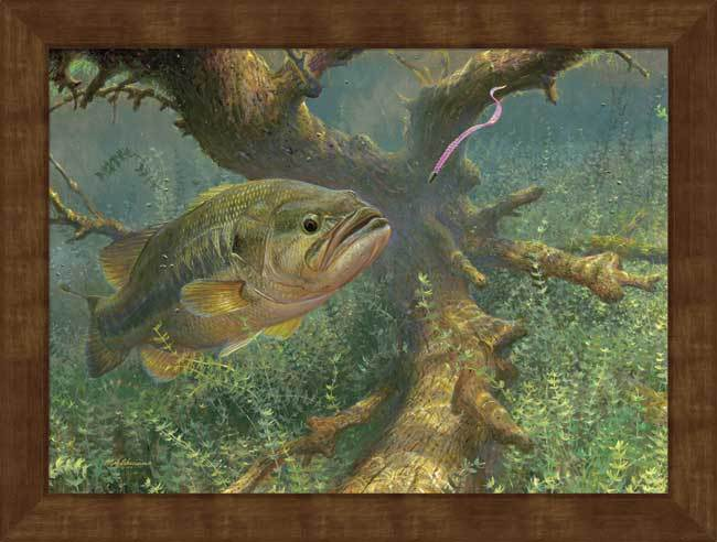 <I>Tight To Cover&mdash;largemouth Bass</i> Framed Studio Canvas<Br/>22H X 29W Art Collection