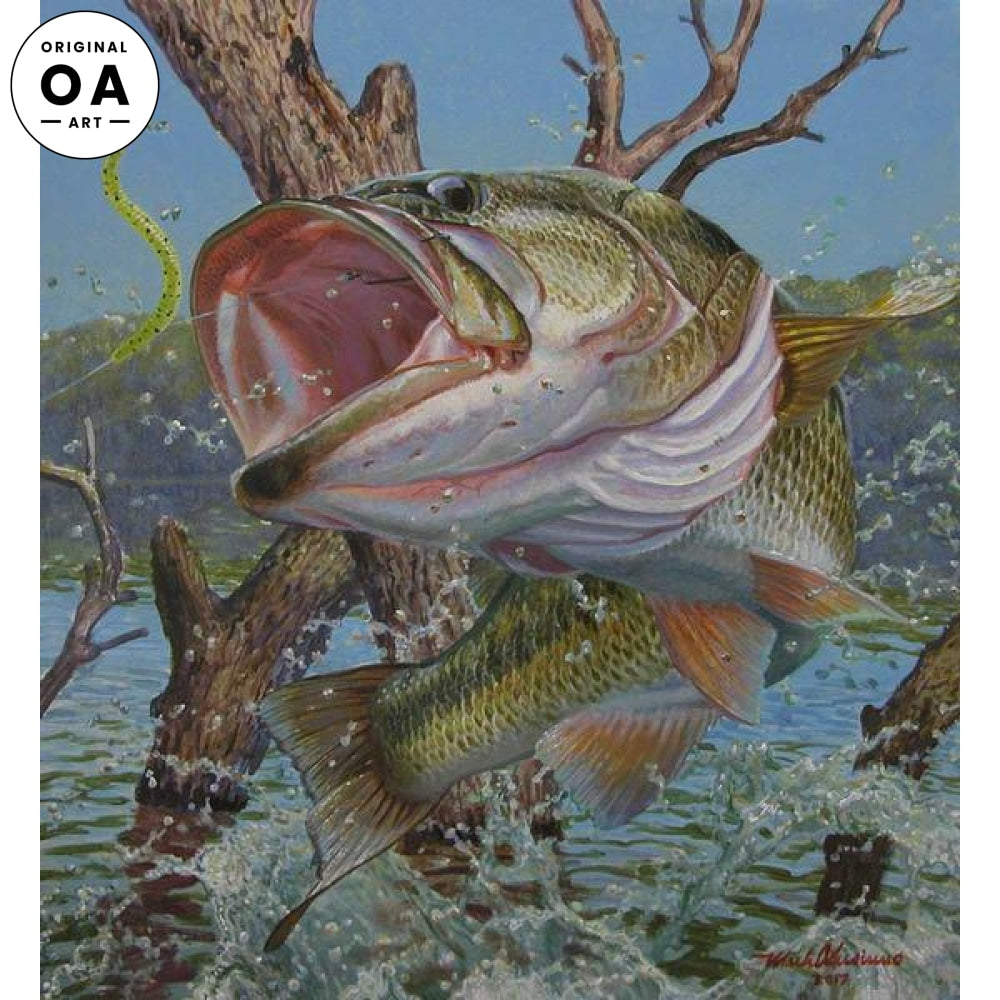 To Throw the Hook—Largemouth Bass Original Artwork