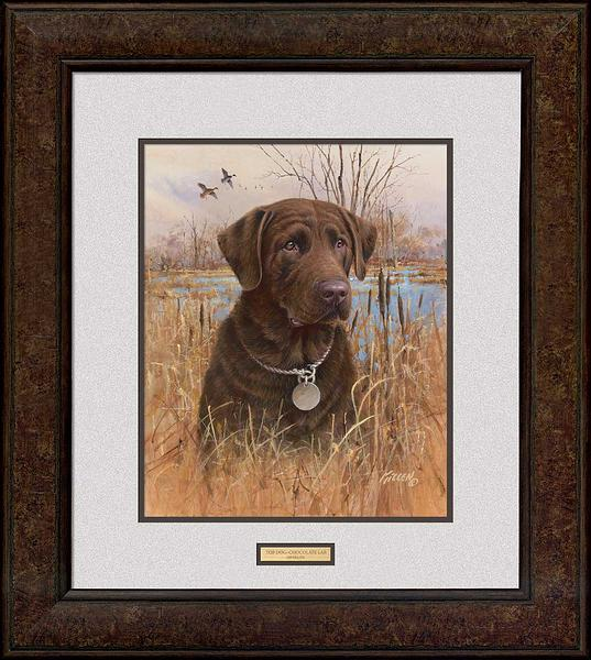 Top Dog—chocolate Lab Framed Signed Print