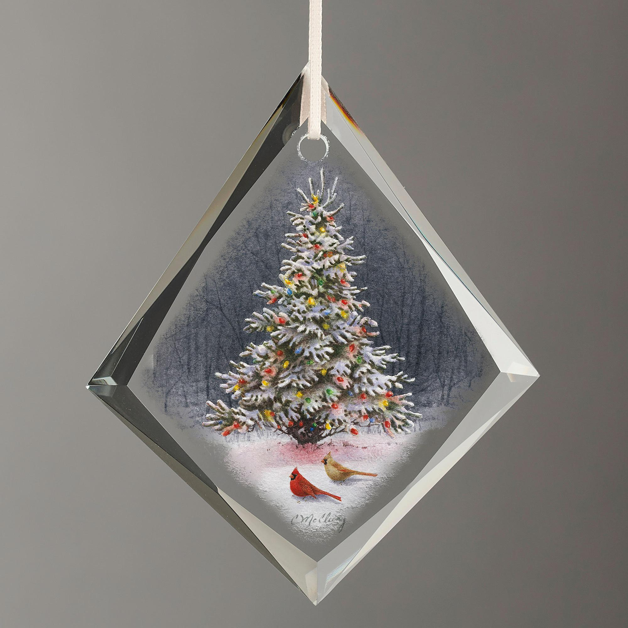 Christmas Tree Tear Drop Glass Ornament