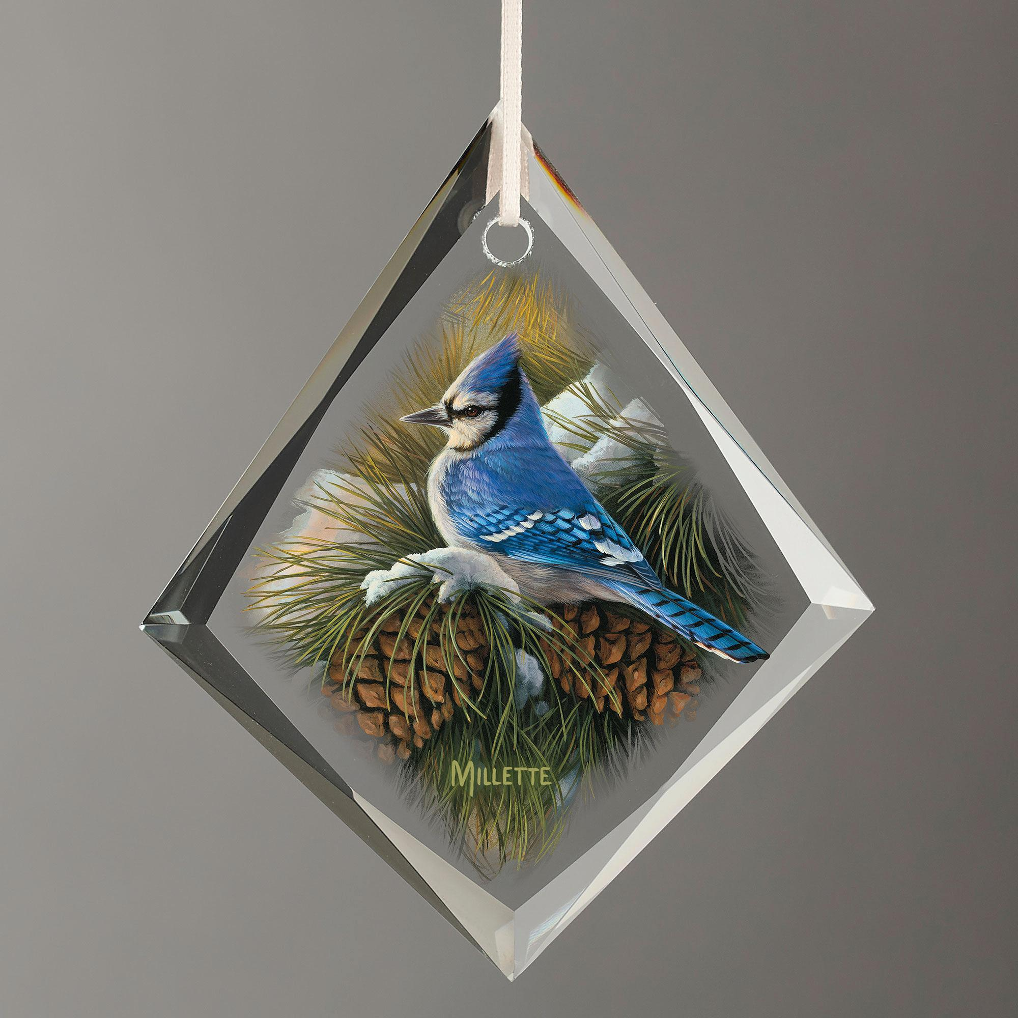 December Dawn-Bluejay Tear Drop Glass Ornament