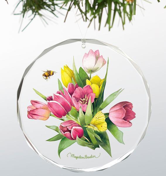 Tulip Treasure Round Glass Ornament