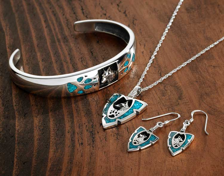 Turquoise & Silver Wolf Jewelry Collection