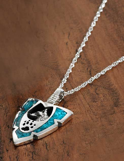 Silver & Turquoise Wolf Necklace