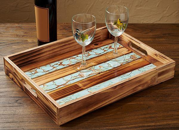 Turquoise Inlay Serving Tray
