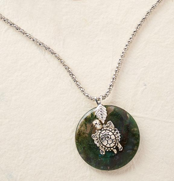 Turtle Gemstone Pendant Necklace