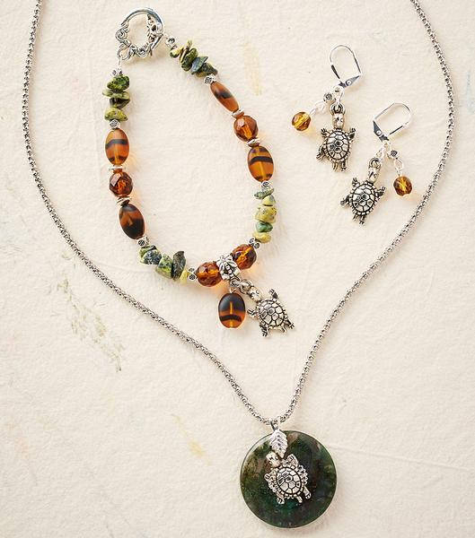 Turtle Necklace, Earrings & Bracelet