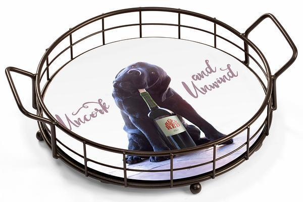 <I>Uncork And Unwind&mdash;black Lab</i> Serving Tray