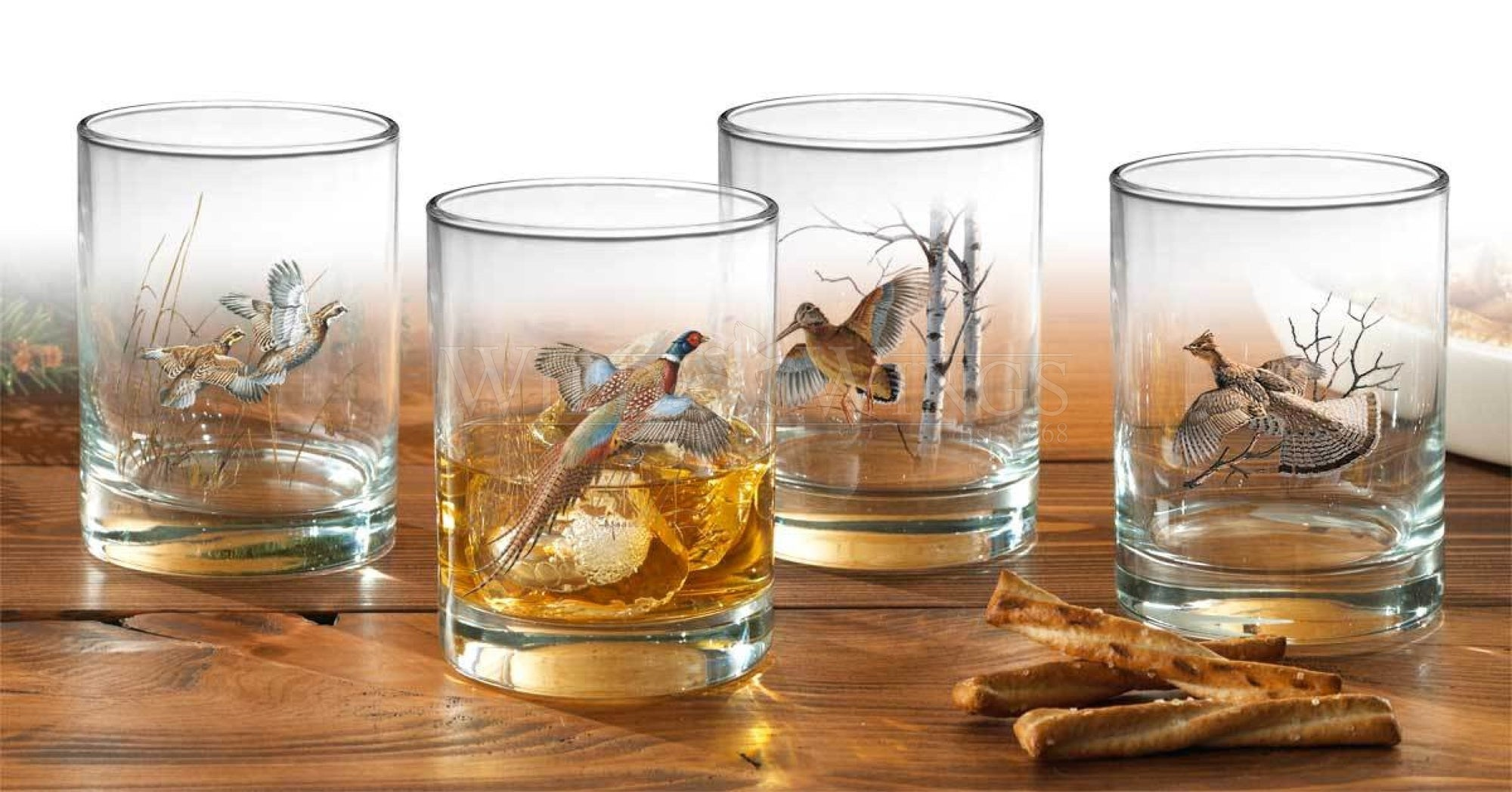 Upland Gamebirds Double Old Fashioned Glasses (Set of 4)