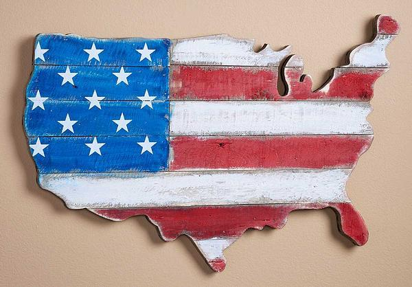 United States Of America Natural Wood Wall Decor