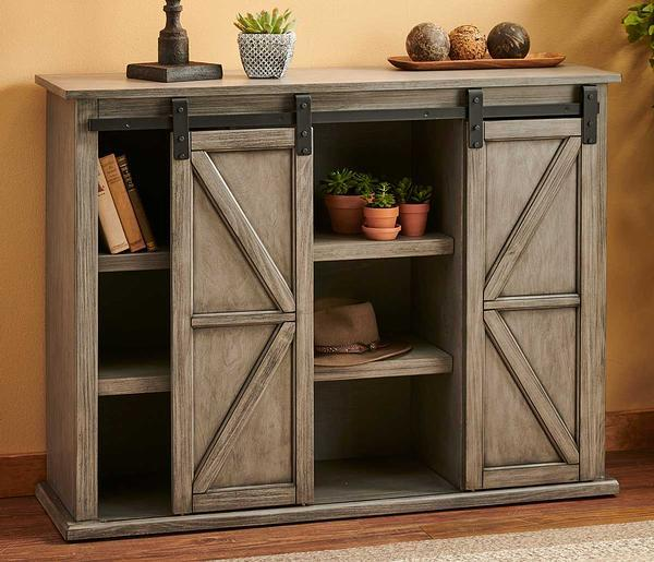 Breakfront Sliding Barn Door Console