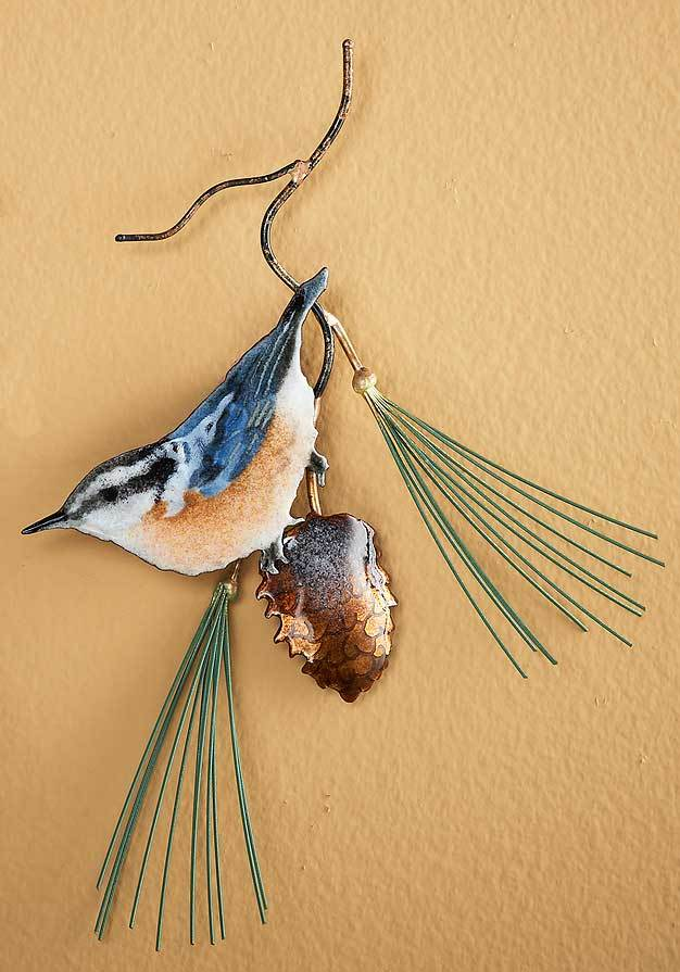 Red Breasted Nuthatch W/pinecone Enamel Wall Art
