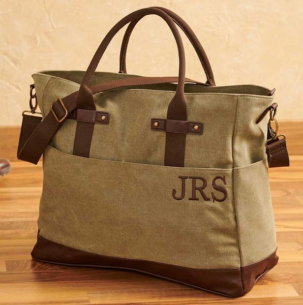 Washed Green Canvas Tote