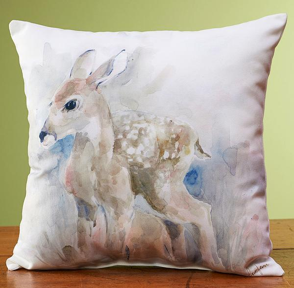 Watercolor Fawn Pillow