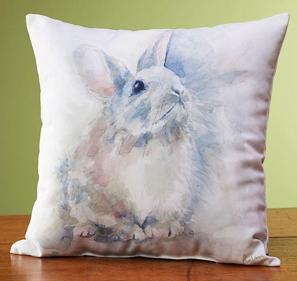 Watercolor Rabbit Pillow