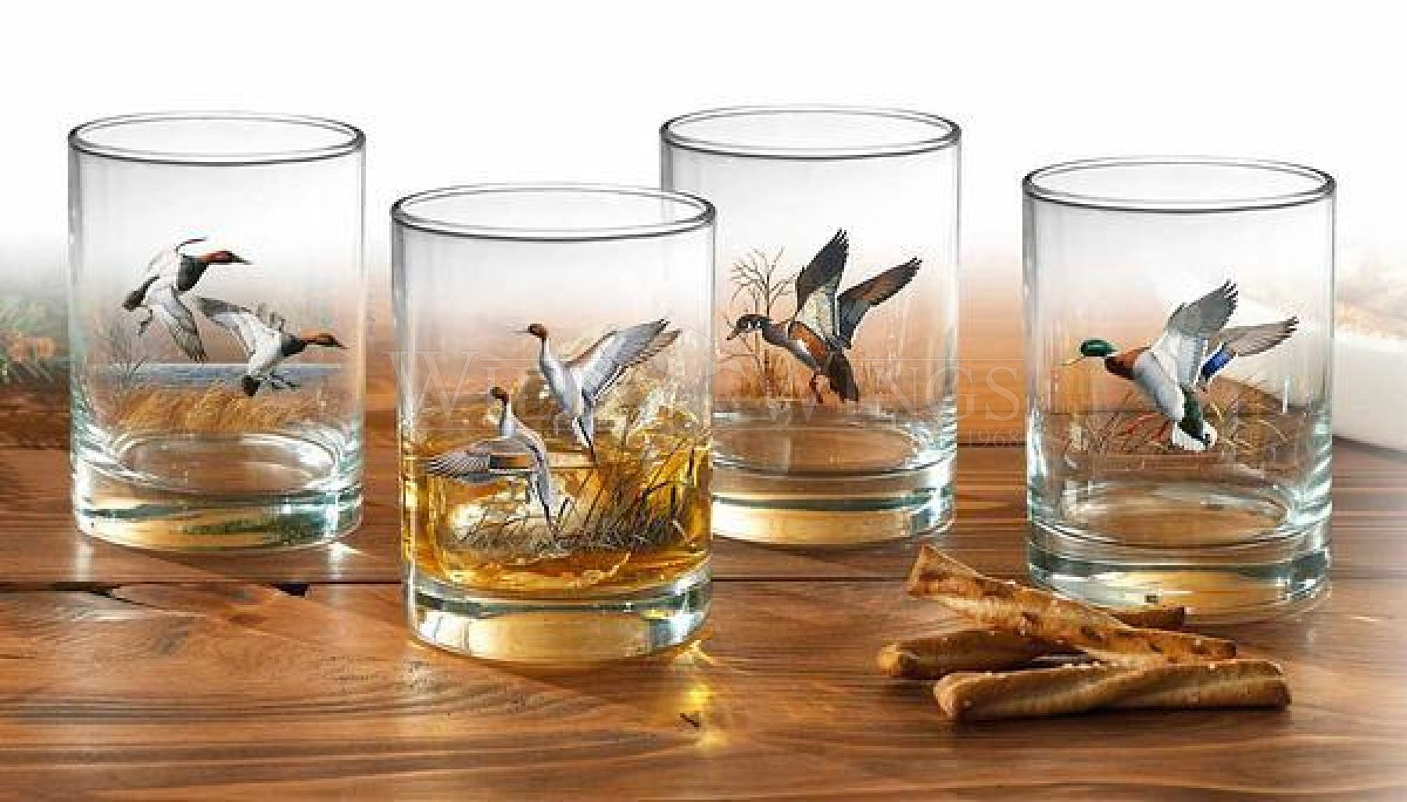 Waterfowl Double Old Fashioned Glasses (Set of 4)