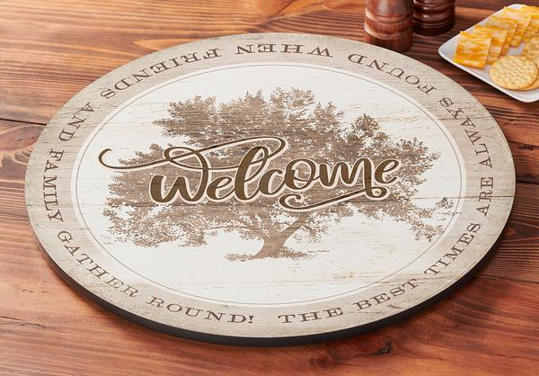 Welcome—tree Lazy Susan Turntable