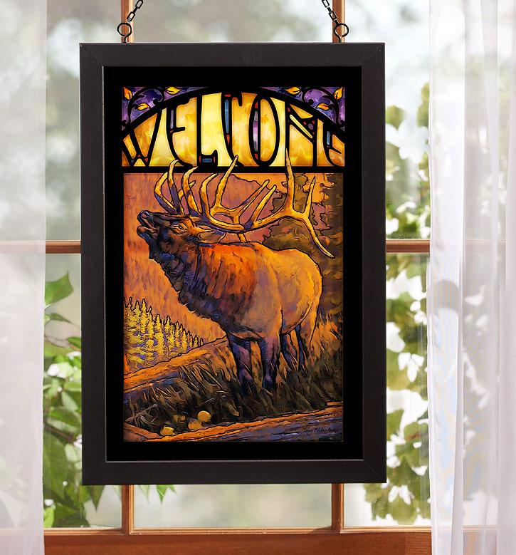 Welcome—elk Stained Glass Art