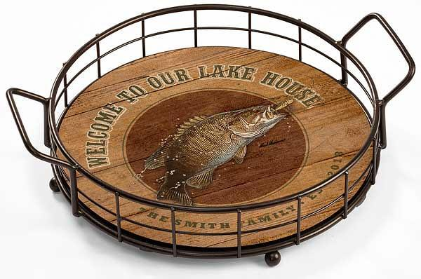 <I>Welcome To Our Lake House&mdash;bass</i> Personalized Serving Tray