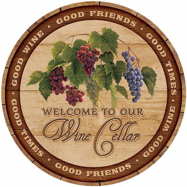 Welcome To Our Wine Cellar 21 Round Wood Sign