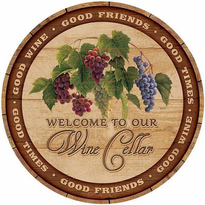 "Welcome to our Wine Cellar 21"" Round Wood Sign"
